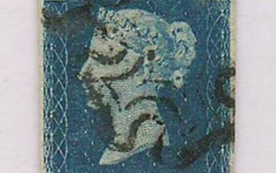 G.B. #2 1840 2d Blue w/ Black M/C cancel