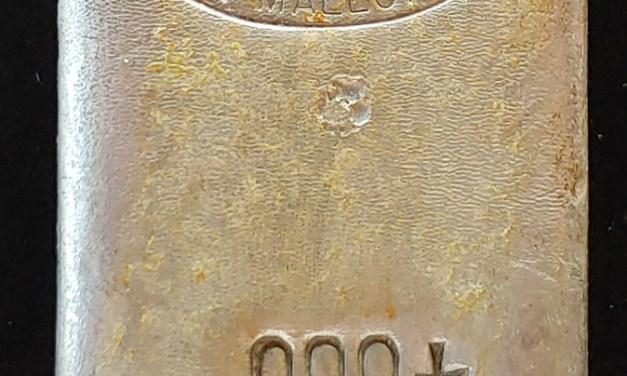 Johnson Matthey & Mallory pure Silver 10 oz poured Bar
