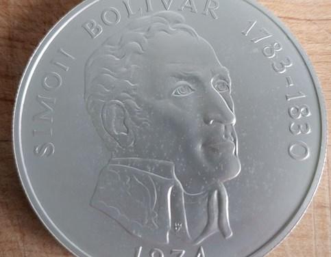 Panama BU 1974 Bolivar Sterling Silver 20 Balboas 3.85oz ASW