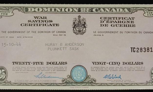Canada Unc 1944 Crain watermarked $25 War Savings Certificate