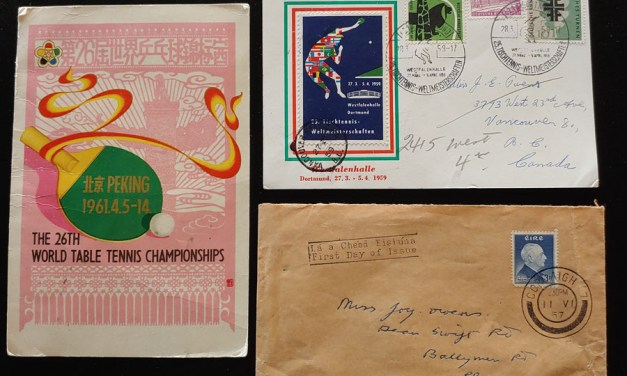 P.R. China etc 1957/61 Table Tennis Card And Cover trio incl Signatures