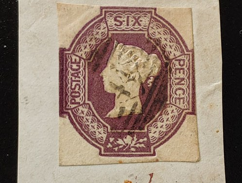 G.B. #7 Fine Used 1854 Embossed 6d on piece