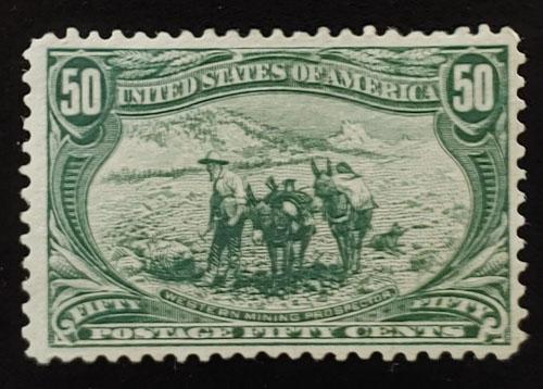 U.S.A. #291 F/VF Unused 1898 50c Western Prospector