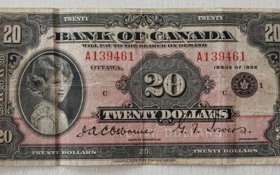 Canada #BC9b VG/F 1935 Princess Elizabeth 20 Dollars