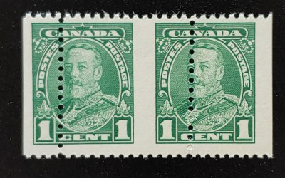 Canada #217 Never Hinged 1c George V Misperf Pair