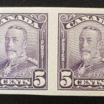Canada #153b VF Unused 1928 5c Scroll Imperforate Pair