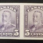 Canada #153b VF Unused 1928 5c Scroll Imperforate Pair
