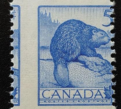 Canada #336 Never Hinged 1954 5c Beaver Misperf, ex Penko