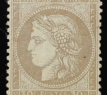 France #62 Mint 1872 30c, sml scrape, Buhler backstamp