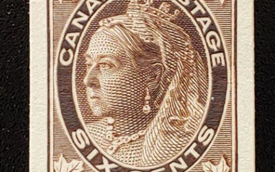 Canada #71P VF 1897 6c QV Leaf Plate Proof on card