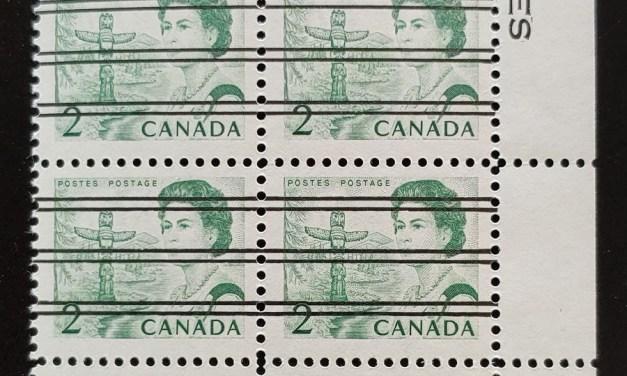 Canada #455xx Never Hinged LR 2c Centennial Precancel Block