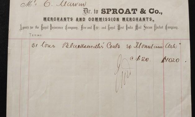 Victoria, B.C. 18 No 1871 Sproat Coal invoice, ex Wellburn