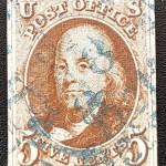 U.S.A. #1 Fine blue cancel Used 1847 5c Franklin