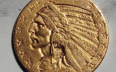 U.S.A. XF 1909D Indian Head Gold 5 Dollars .24187oz AGW