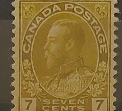Canada #113c F/VF Mint HR 1914 7c Sage Green Admiral