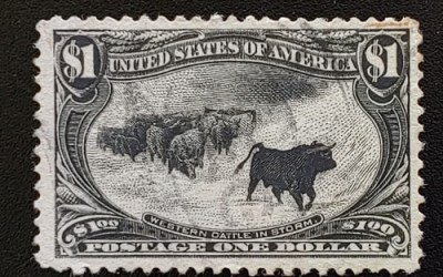 U.S.A. #292 Fine+ Used 1898 $1 Western Cattle in Storm