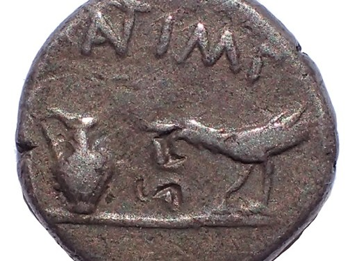 Mark Antony and Lepidus 43-42BC 12.5mm 1.8gm Gaul Silver Quinarius