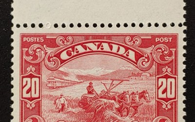 Canada #157 XFNH 1929 20c top margin Harvester