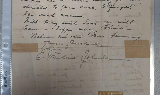 22 December 1902 E. Pauline Johnson 2 page Christmas letter, written on Clarendon Hotel Winnipeg stationery