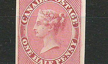 Canada #8P VF 1857 1/2d Rose Imperforate Plate Proof on card