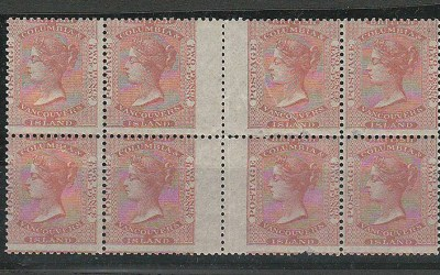 British Columbia and Vancouver's Island Mint 1860 Gutter Block of eight of the first issued stamp of the twin colonies