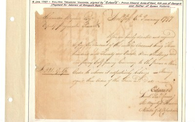 Prince Edward signed 6 Jan 1797 Halifax Treasury Voucher ex Wellburn