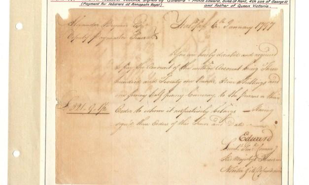 Prince Edward signed 6 Jan 1797 Halifax Treasury Voucher ex Wellburn