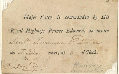 1797 Prince Edward Halifax Dinner Invitation on Wellburn Page