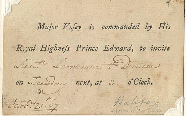 1797 Prince Edward Halifax Dinner Invitation on Wellburn Page