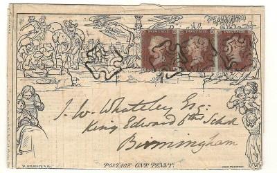 G.B. #3 uprated 13 Dec 1841 4d Mulready Life Insurance Lettersheet