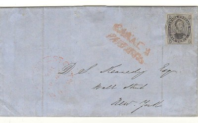 Canada #2b 2 Dec 1852 6d Albert Cross Border FLS