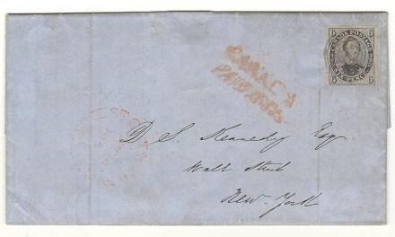 Canada #2b 2 Dec 1852 6d Albert Cross Border FLS