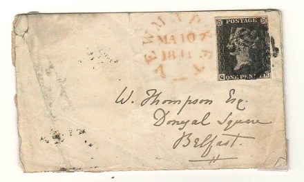 G.B. #1 10 Mar 1841 Newmarket/Belfast W. Thompson small Cover