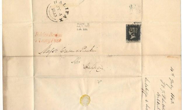 G.B. #1 4 Jl 1843 Hobden Bridge Penny Post 1d Black FLS to Halifax