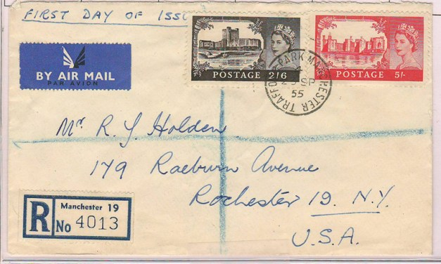 Trafford Park #309-310 23 Sp 1955 7/6d Registered FDC to U.S.