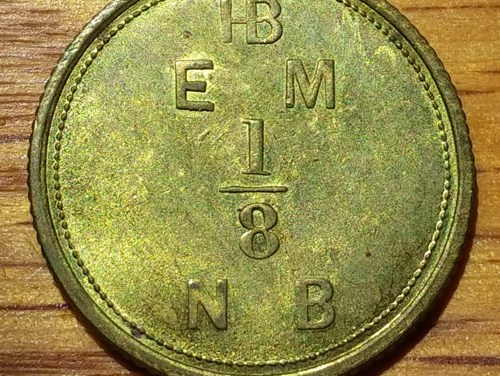 Hudson's Bay Company 1854 1/8 Made Beaver Token