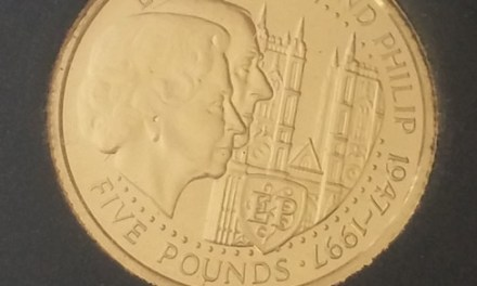 Guernsey Proof 1997 1/25oz Gold Royal Anniversary 5 Pounds .0354oz