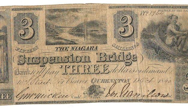 Niagara Suspension Bridge Bank 1840 $3 Banknote