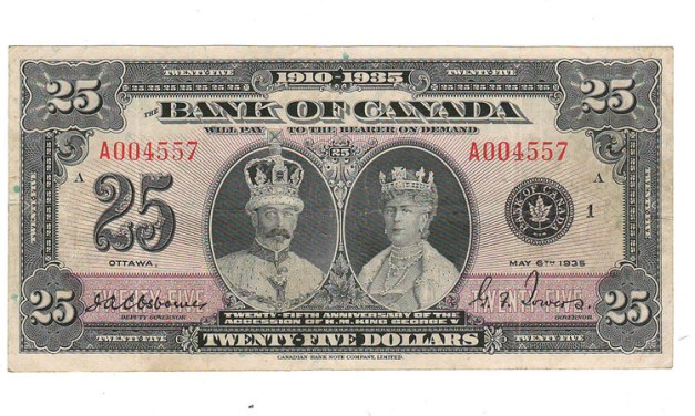 Bank of Canada Fine+ 1935 Commemorative $25 Banknote