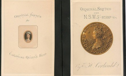 Original sketch for Colonial Queen's Head and for New South Wales 5/- stamp