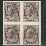 Canada #71P VF 1897 6c QV Leaf Plate Proof Block (4)