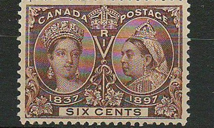 Lot 30 Canada #55 VF Unused 1897 6c Jubilee Selected For Centering $275