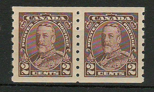 Canada #229ii 1935 Damaged 2 Variety in Coil Pair