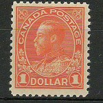 Canada #122 F/VF Never Hinged 1925 $1 Orange, Dry Printing