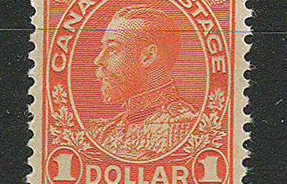 Canada #122 F/VF Never Hinged 1925 $1 Orange, Dry Printing