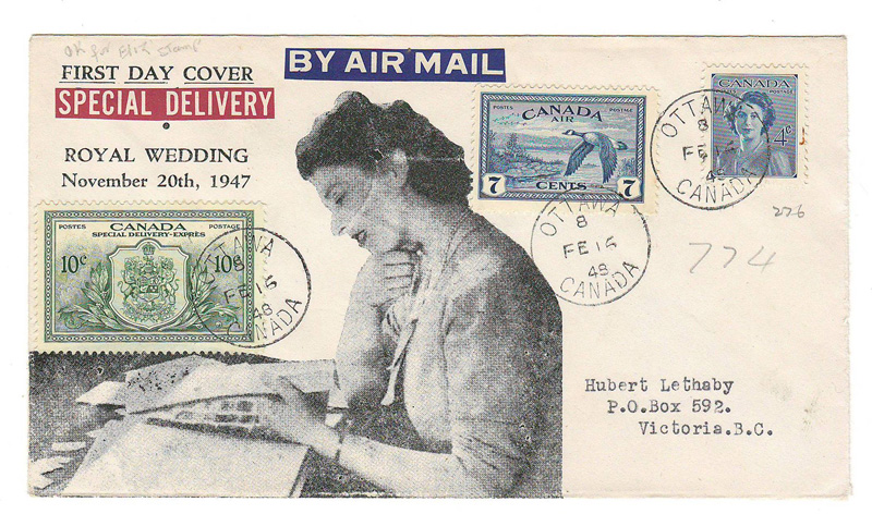 Canada #276, C9, E11 cacheted 16 Feb 1948 Ottawa FDC to B.C