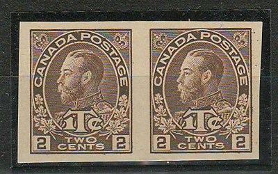 Canada #MR4b 1915/16 Die 1 Imperforate Pair