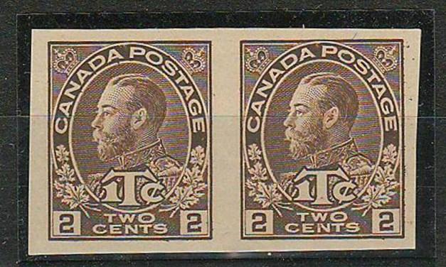 Canada #MR4b 1915/16 Die 1 Imperforate Pair