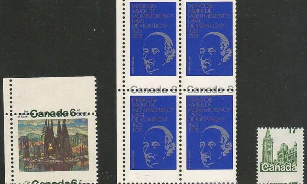 Canada #518/790var 1970/79 Misperf Block & duo (6)