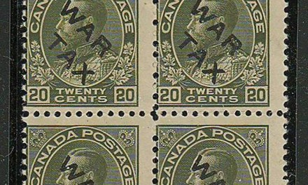 Canada #MR2C 3 NH 20c 2-line War Tax Overprint Block (4)